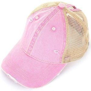 Pink Ponytail Messy Bun Cap Distressed